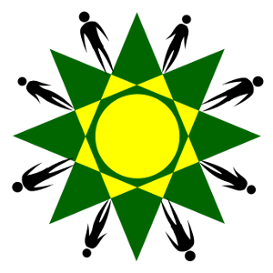 Yellow Sun on Green 8 sided Star with 8 figures surrounding
